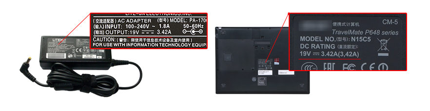 check the power specs of your Acer Aspire E5 Series charger