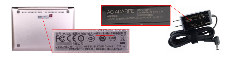 check the power specs of your ASUS 15V 1.2A 18W charger